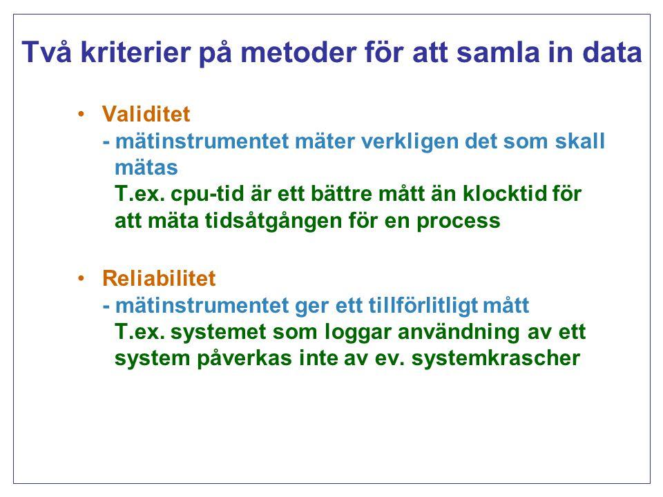 Två kriterier på metoder för att samla in data