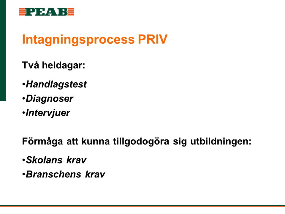 Intagningsprocess PRIV