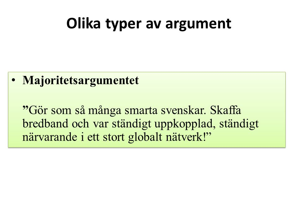Olika typer av argument