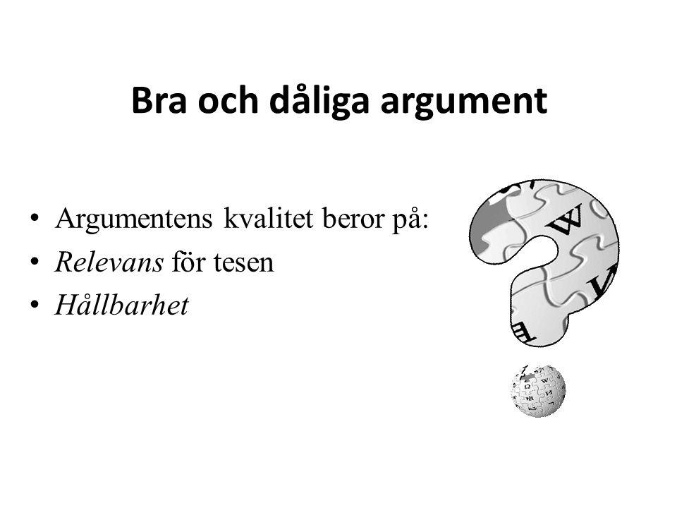 Bra och dåliga argument