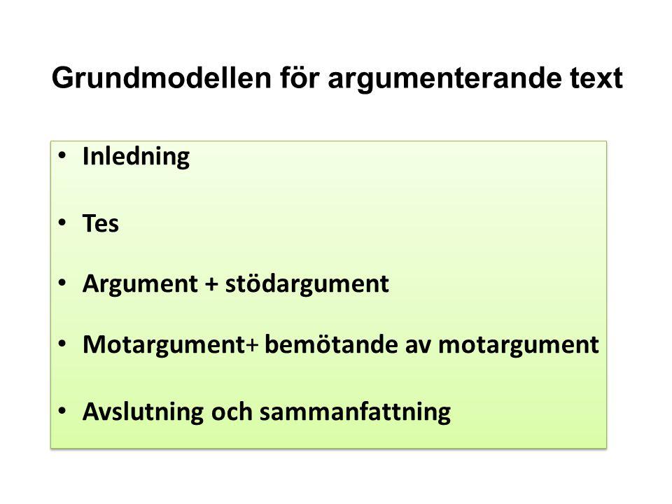 Grundmodellen för argumenterande text