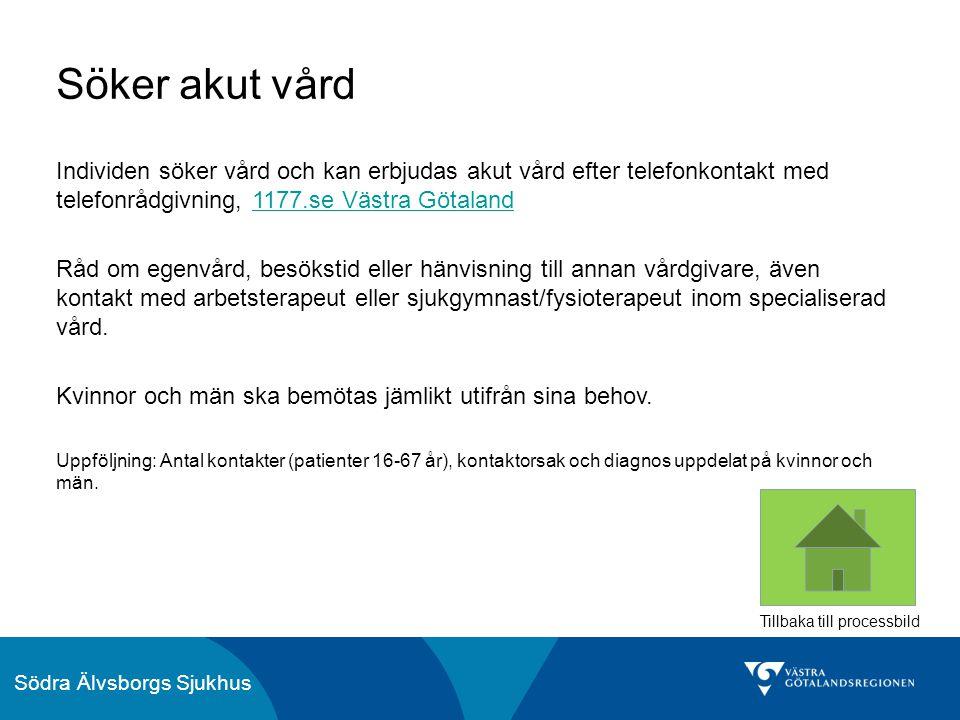 Söker akut vård Individen söker vård och kan erbjudas akut vård efter telefonkontakt med telefonrådgivning, 1177.se Västra Götaland.