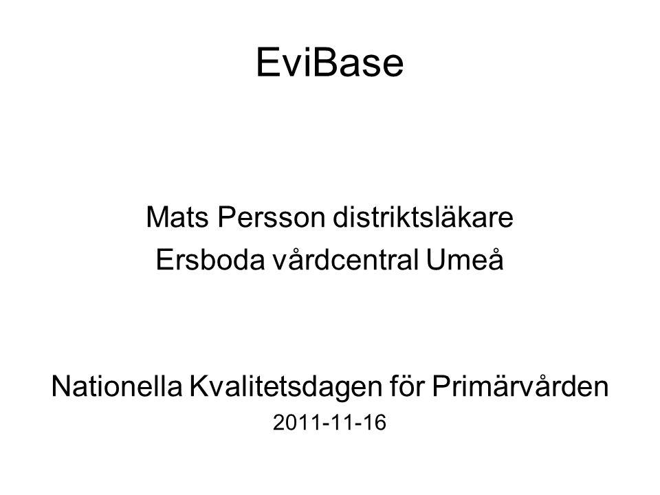 EviBase Mats Persson distriktsläkare Ersboda vårdcentral Umeå