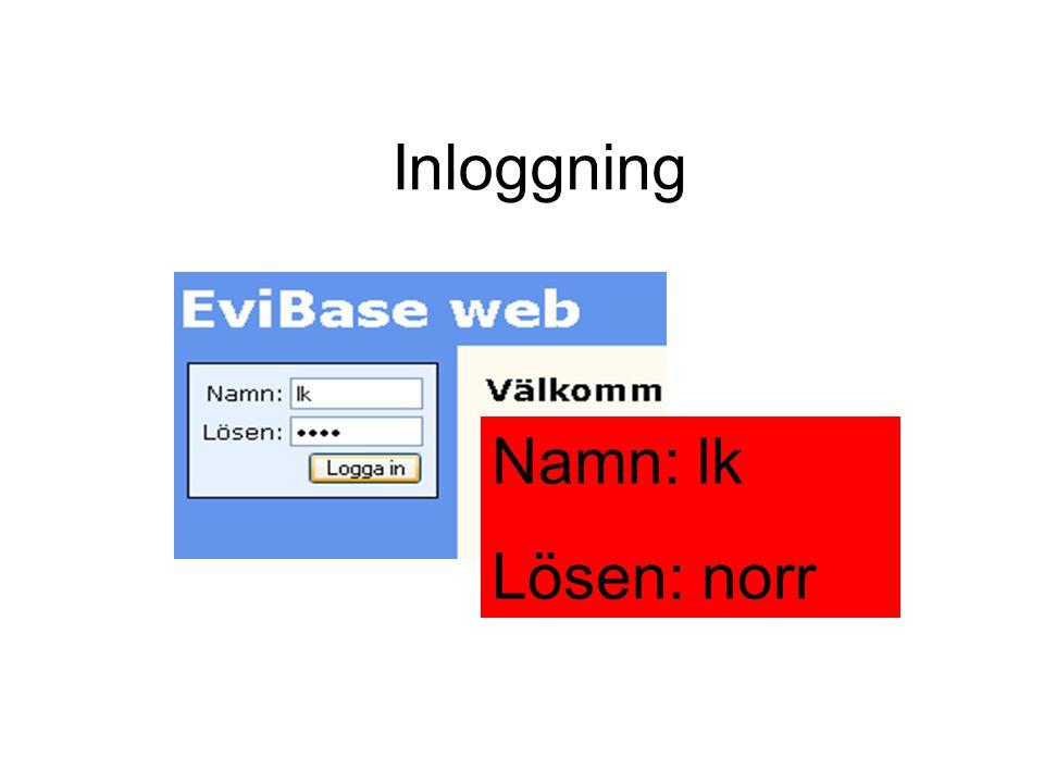 Inloggning Namn: lk Lösen: norr Inloggning