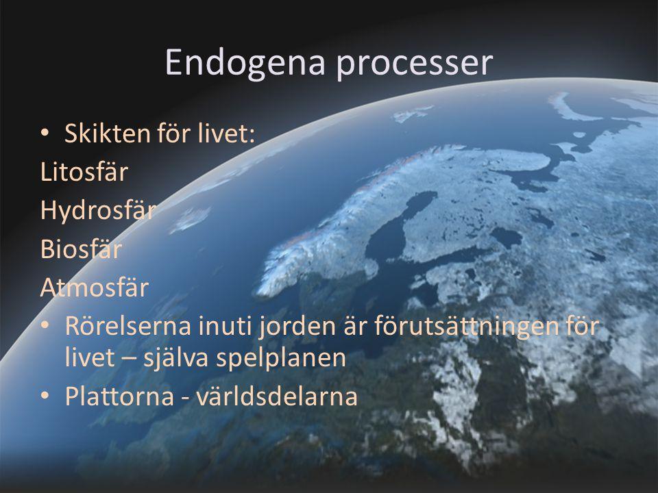 Endogena processer Skikten för livet: Litosfär Hydrosfär Biosfär
