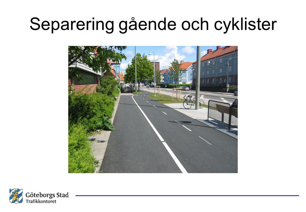 Separering gående och cyklister