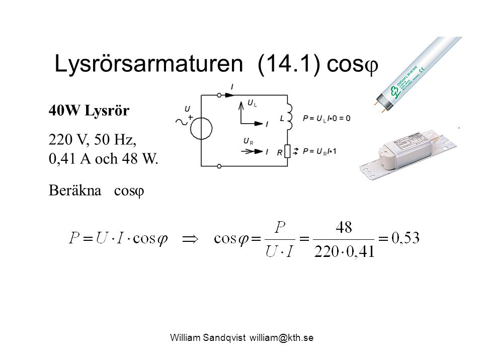 Lysrörsarmaturen (14.1) cos