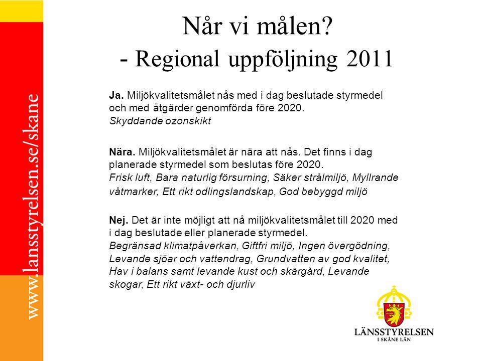 Når vi målen - Regional uppföljning 2011
