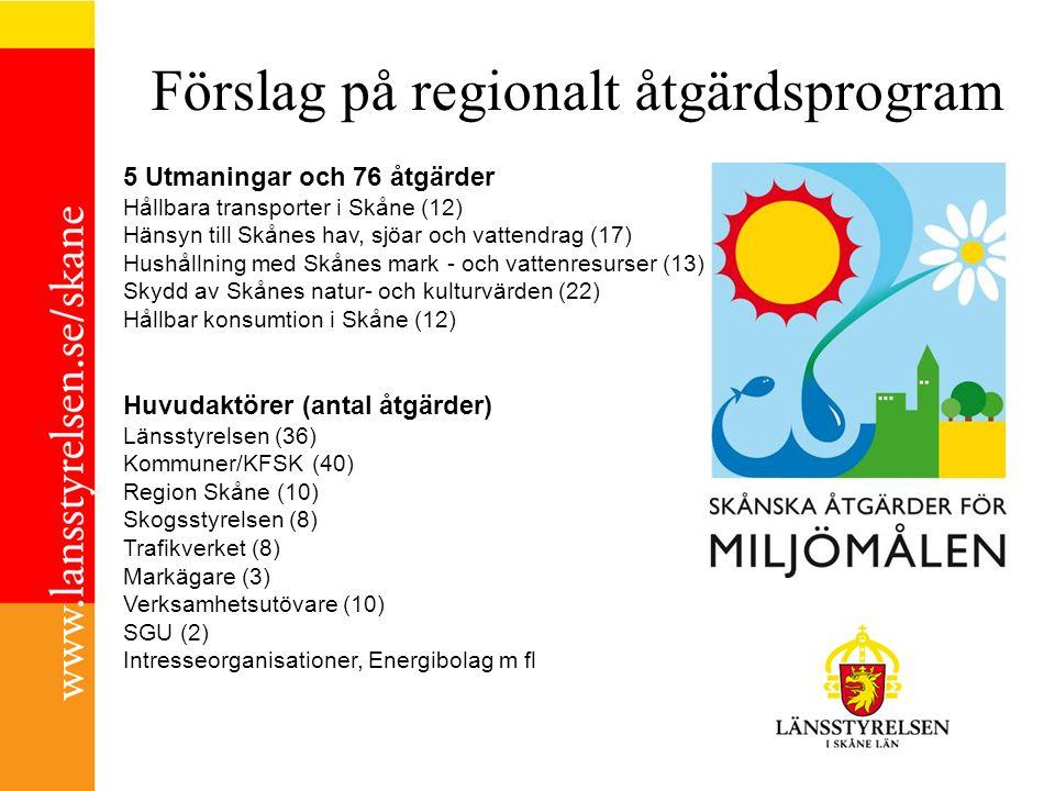 Förslag på regionalt åtgärdsprogram