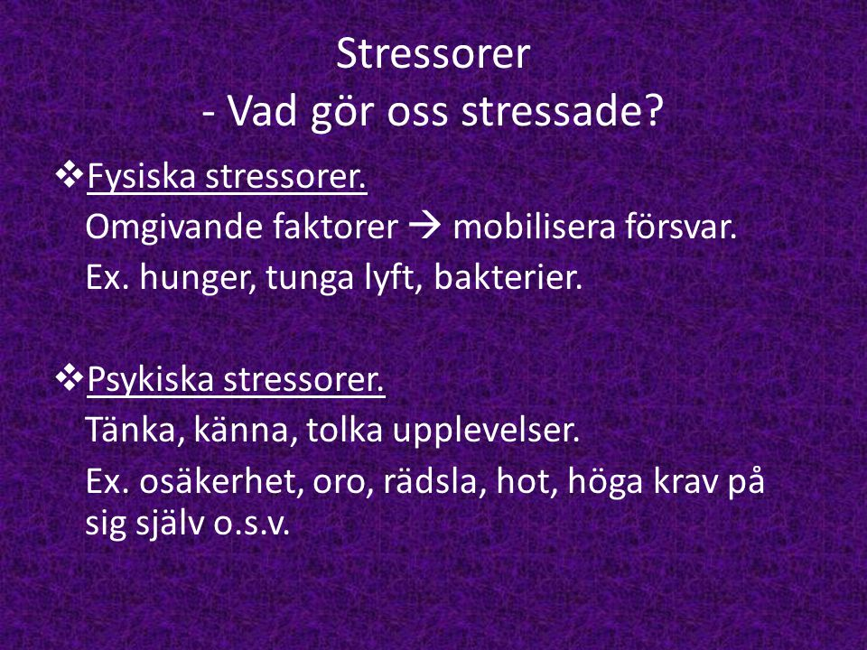 Stressorer - Vad gör oss stressade
