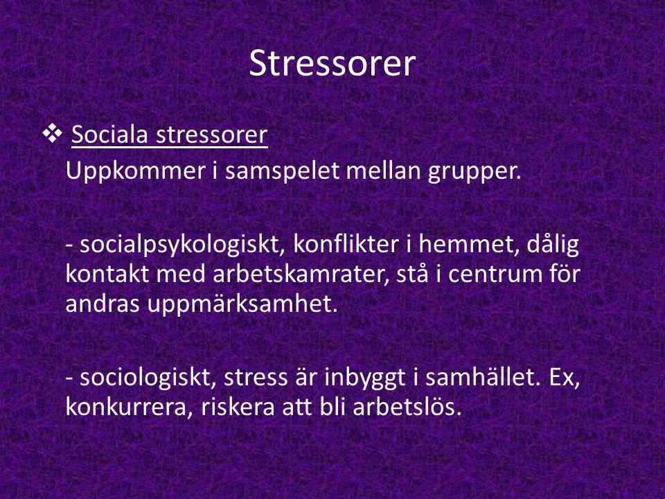 Stressorer Sociala stressorer Uppkommer i samspelet mellan grupper.
