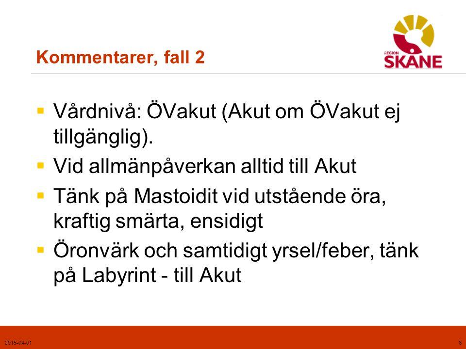 Vårdnivå: ÖVakut (Akut om ÖVakut ej tillgänglig).