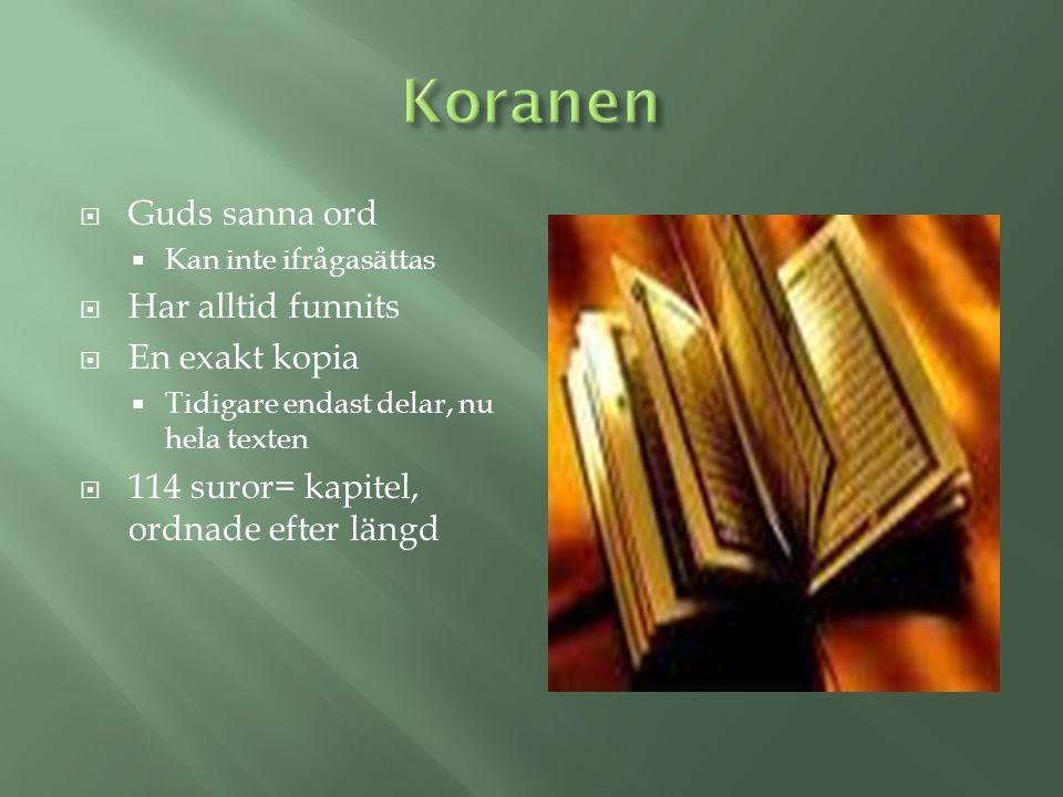 Koranen Guds sanna ord Har alltid funnits En exakt kopia
