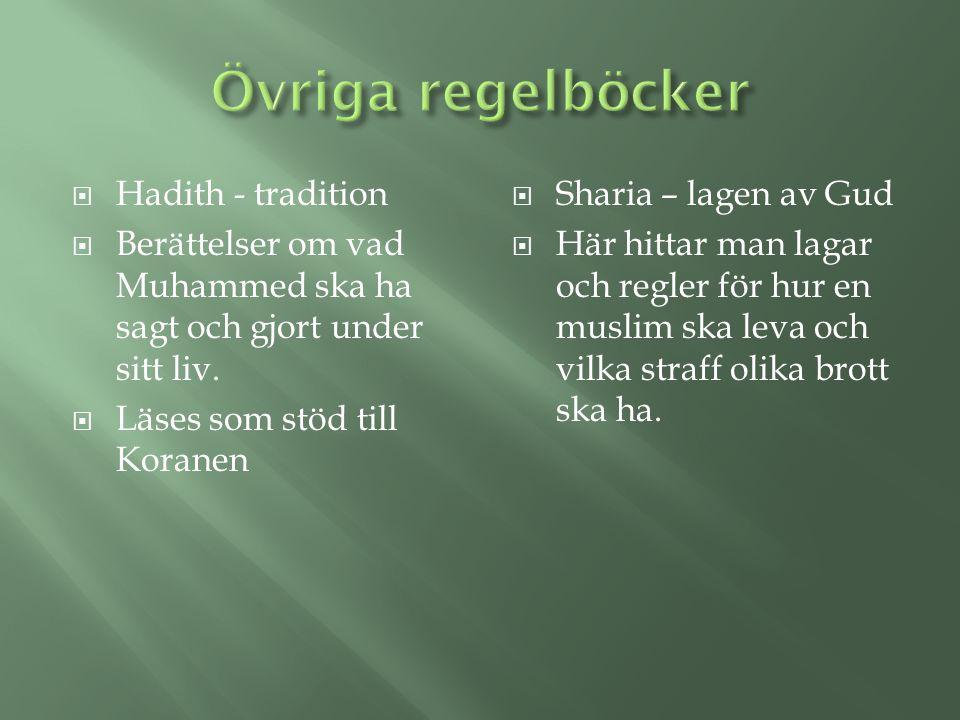 Övriga regelböcker Hadith - tradition