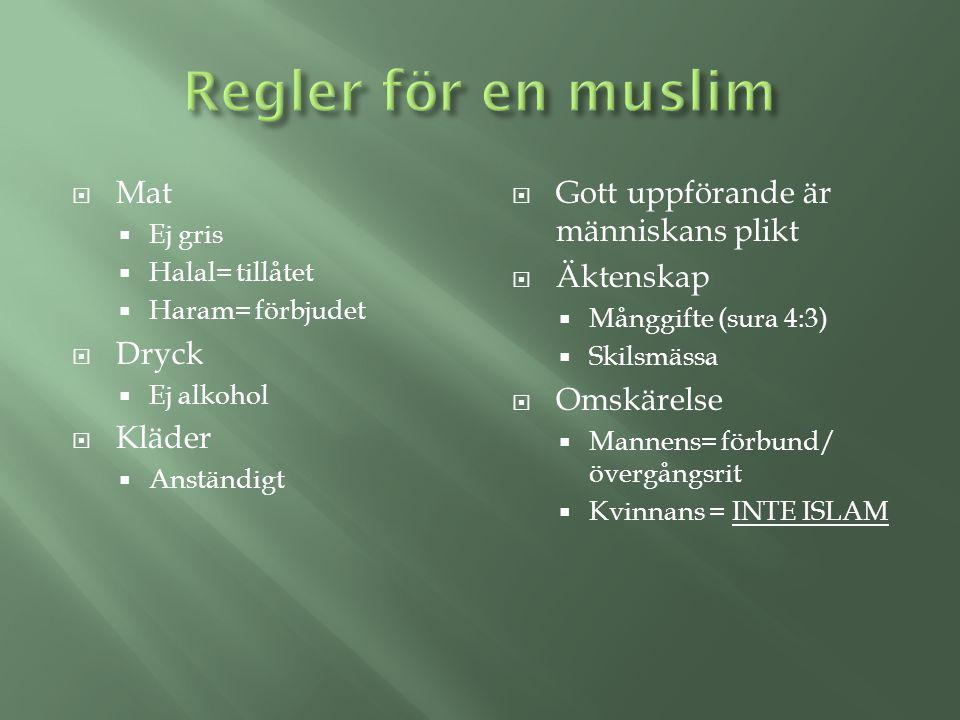 Regler för en muslim Mat Dryck Kläder
