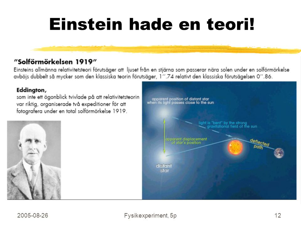 Einstein hade en teori! 2005-08-26 Fysikexperiment, 5p