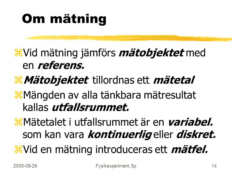Om mätning Vid mätning jämförs mätobjektet med en referens.