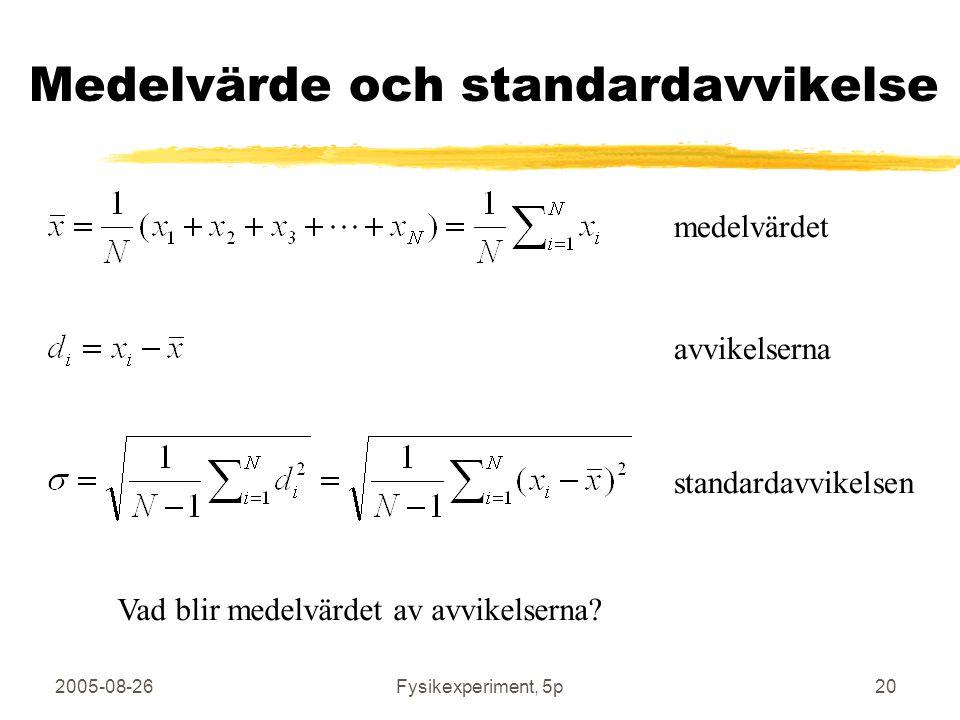 Medelvärde och standardavvikelse