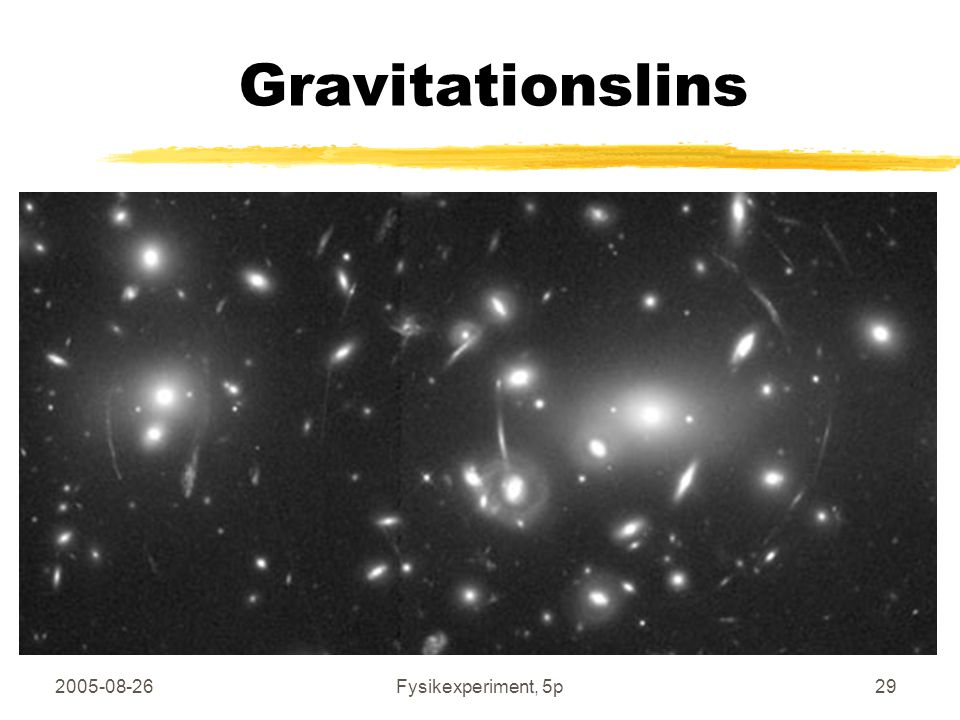 Gravitationslins 2005-08-26 Fysikexperiment, 5p