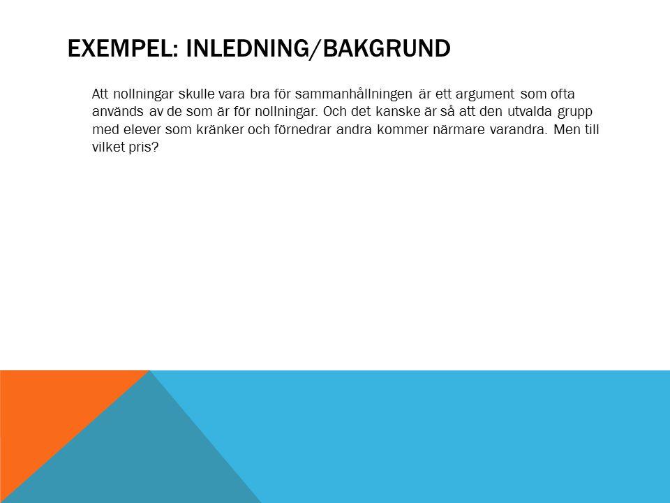 Exempel: Inledning/bakgrund