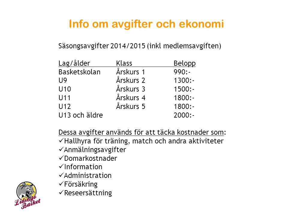 Info om avgifter och ekonomi