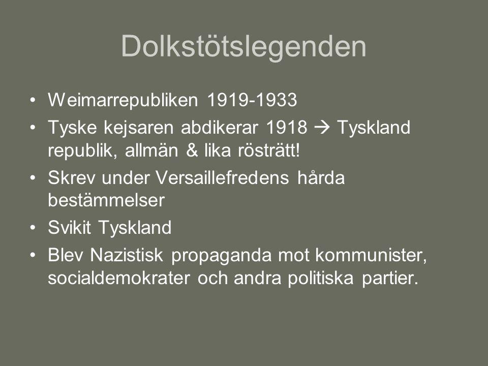 Dolkstötslegenden Weimarrepubliken 1919-1933