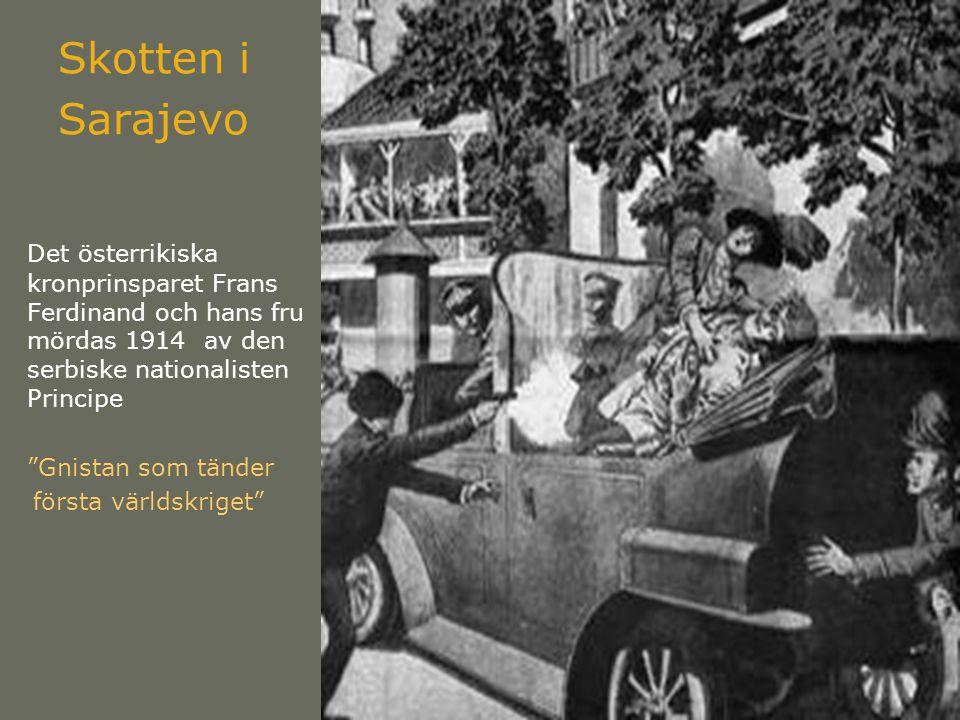 Skotten i Sarajevo Det österrikiska kronprinsparet Frans Ferdinand och hans fru mördas 1914 av den serbiske nationalisten Principe.