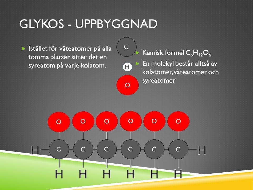 Glykos - uppbyggnad C. Istället för väteatomer på alla tomma platser sitter det en syreatom på varje kolatom.