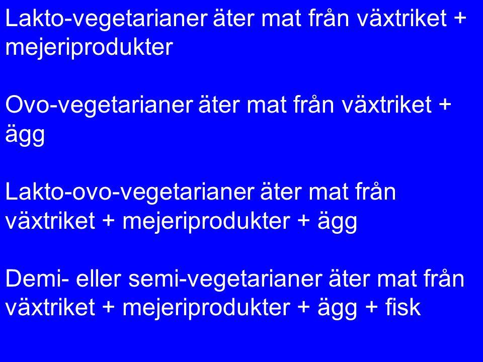 Lakto-vegetarianer äter mat från växtriket + mejeriprodukter