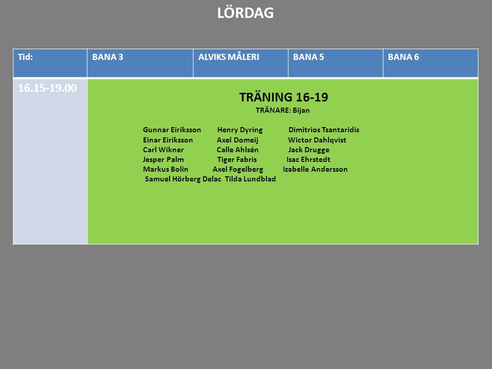 LÖRDAG 16.15-19.00 TRÄNING 16-19 20-21 21-22 Tid: BANA 3 ALVIKS MÅLERI