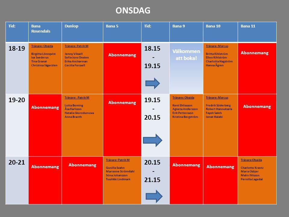 ONSDAG Tid: Bana Rosendals. Dunlop. Bana 5. Bana 9. Bana 10. Bana 11. 18-19. Tränare: Obaida.