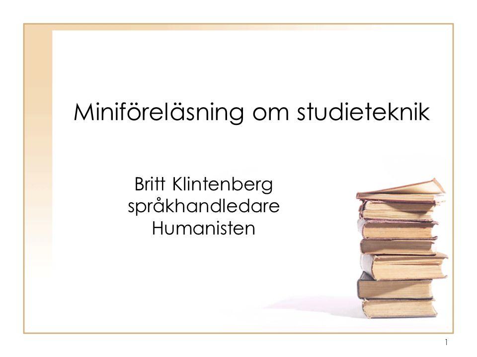 Miniföreläsning om studieteknik