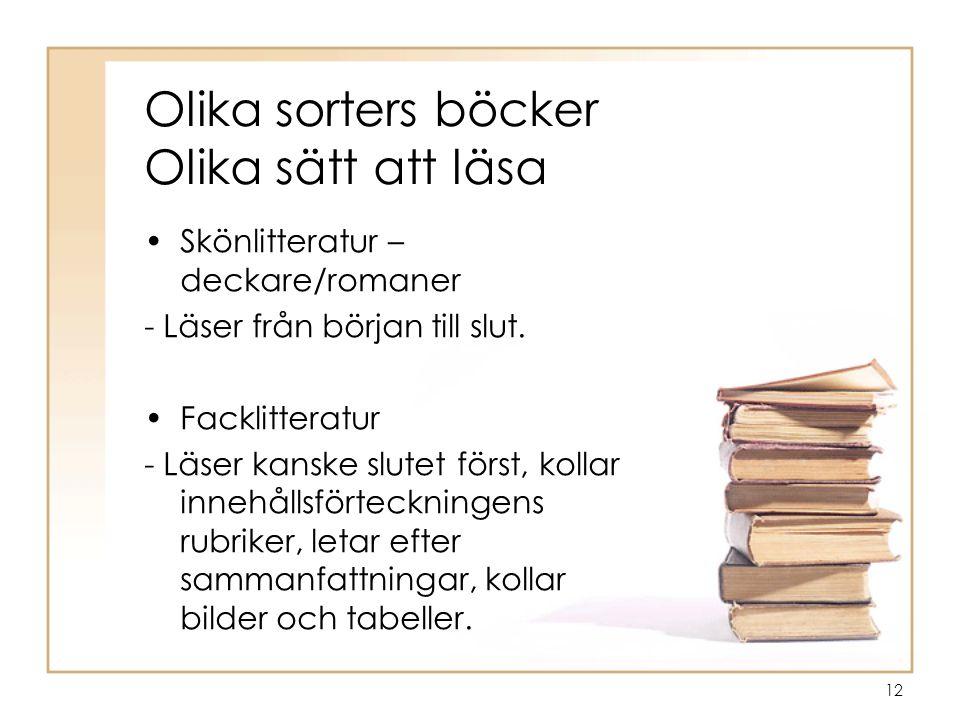 Olika sorters böcker Olika sätt att läsa
