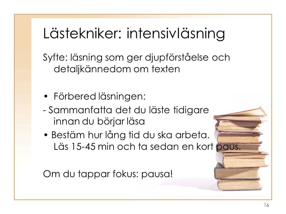 Lästekniker: intensivläsning