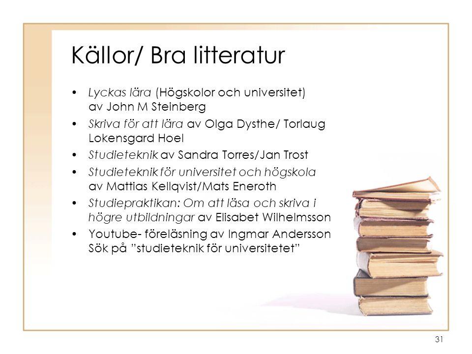 Källor/ Bra litteratur