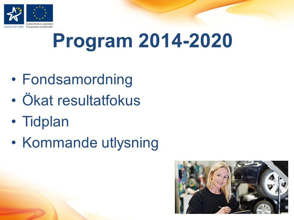 Program 2014-2020 Fondsamordning Ökat resultatfokus Tidplan