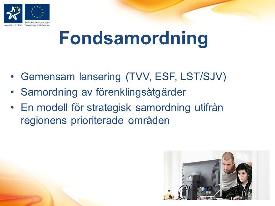 Fondsamordning Gemensam lansering (TVV, ESF, LST/SJV)
