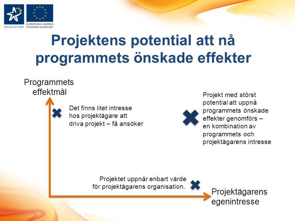 Projektens potential att nå programmets önskade effekter