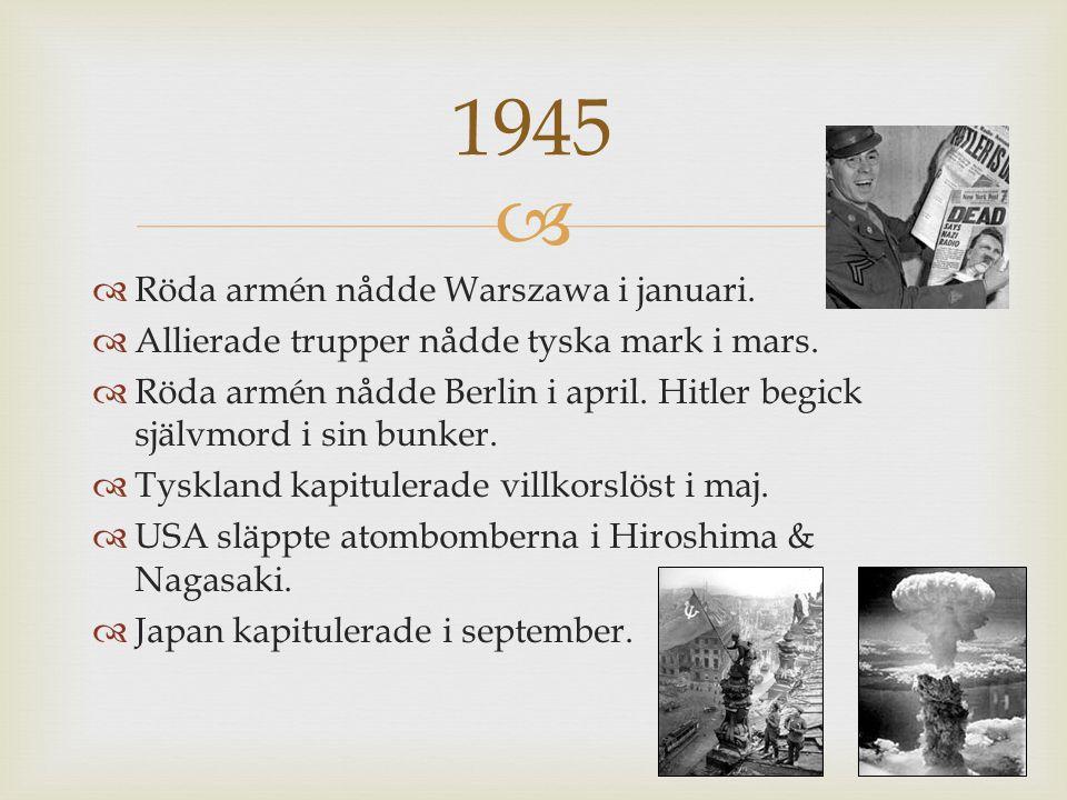 1945 Röda armén nådde Warszawa i januari.