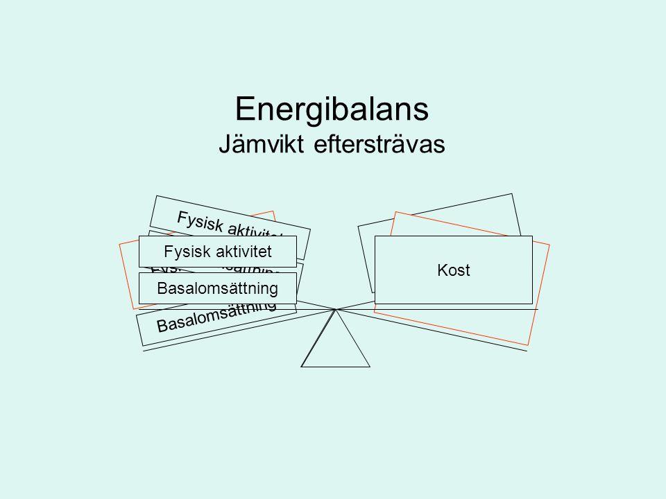 Energibalans Jämvikt eftersträvas Fysisk aktivitet Kost