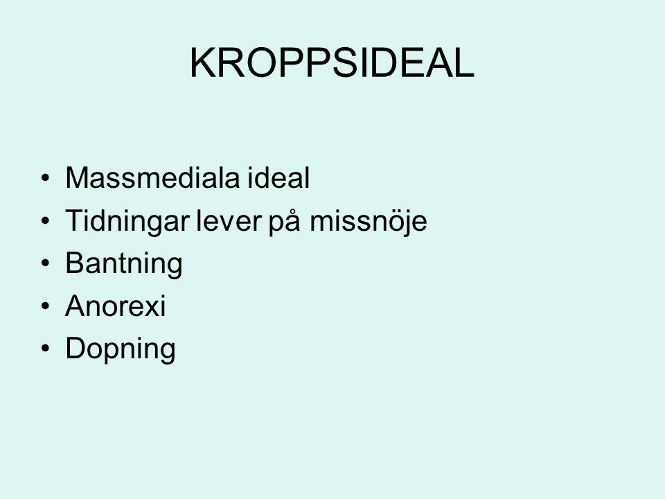 KROPPSIDEAL Massmediala ideal Tidningar lever på missnöje Bantning