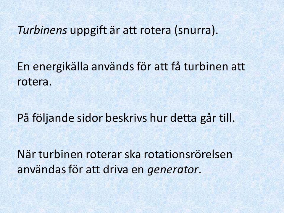 Turbinens uppgift är att rotera (snurra)