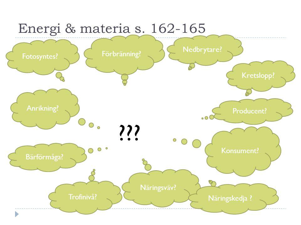 Energi & materia s. 162-165 Nedbrytare Förbränning Fotosyntes