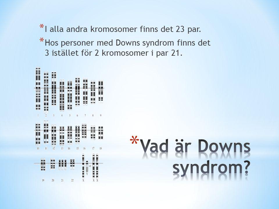 Vad är Downs syndrom I alla andra kromosomer finns det 23 par.