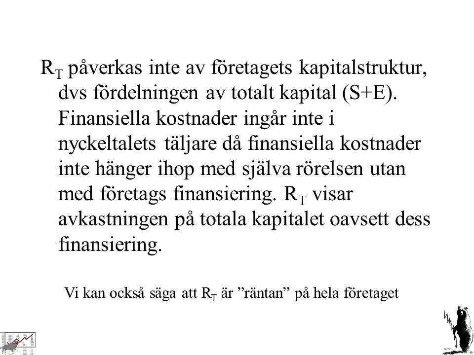 RT påverkas inte av företagets kapitalstruktur, dvs fördelningen av totalt kapital (S+E). Finansiella kostnader ingår inte i nyckeltalets täljare då finansiella kostnader inte hänger ihop med själva rörelsen utan med företags finansiering. RT visar avkastningen på totala kapitalet oavsett dess finansiering.