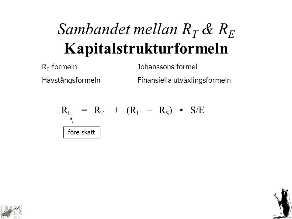 Sambandet mellan RT & RE Kapitalstrukturformeln