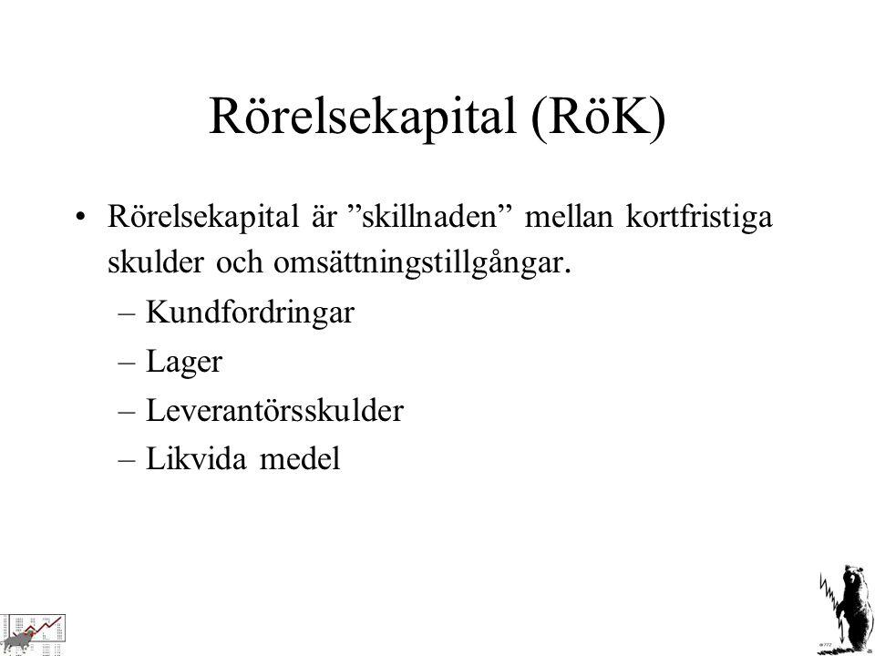 Rörelsekapital (RöK) Rörelsekapital är skillnaden mellan kortfristiga skulder och omsättningstillgångar.