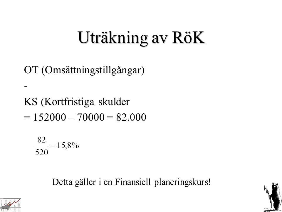 Uträkning av RöK OT (Omsättningstillgångar) - KS (Kortfristiga skulder