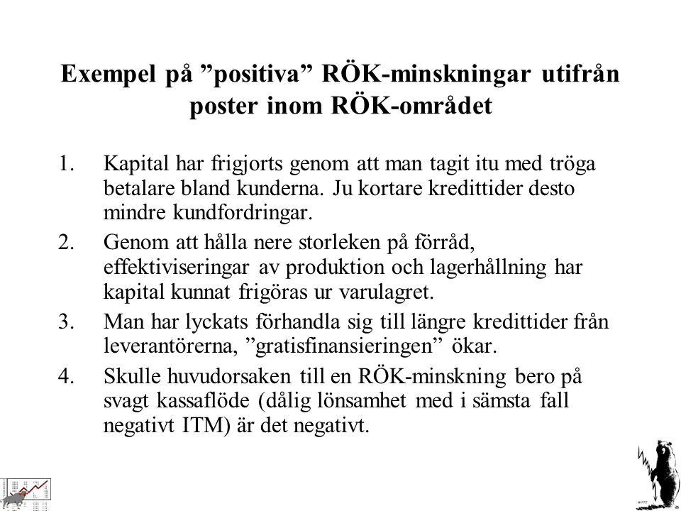 Exempel på positiva RÖK-minskningar utifrån poster inom RÖK-området
