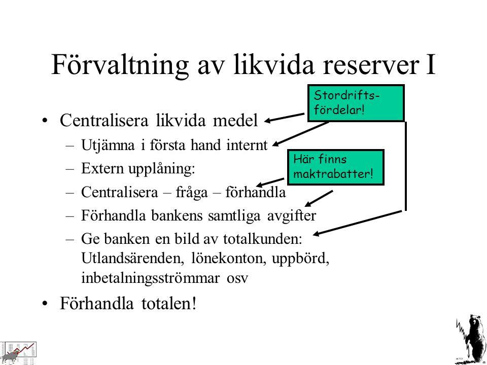 Förvaltning av likvida reserver I